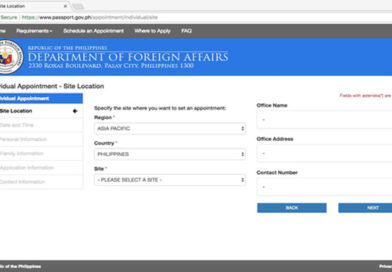 DFA Opens Passport Appointments for January 2018